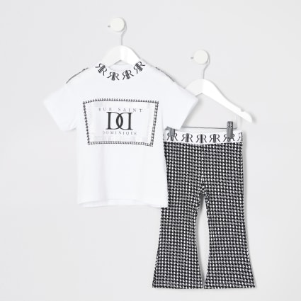 Mini girls dogtooth flared trouser outfit