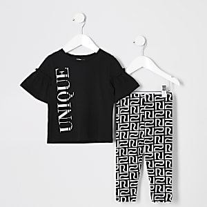 Mini girls 'unique' print T-shirt outfit