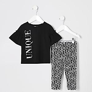 Ensemble avec t-shirt imprimé «Unique» mini fille