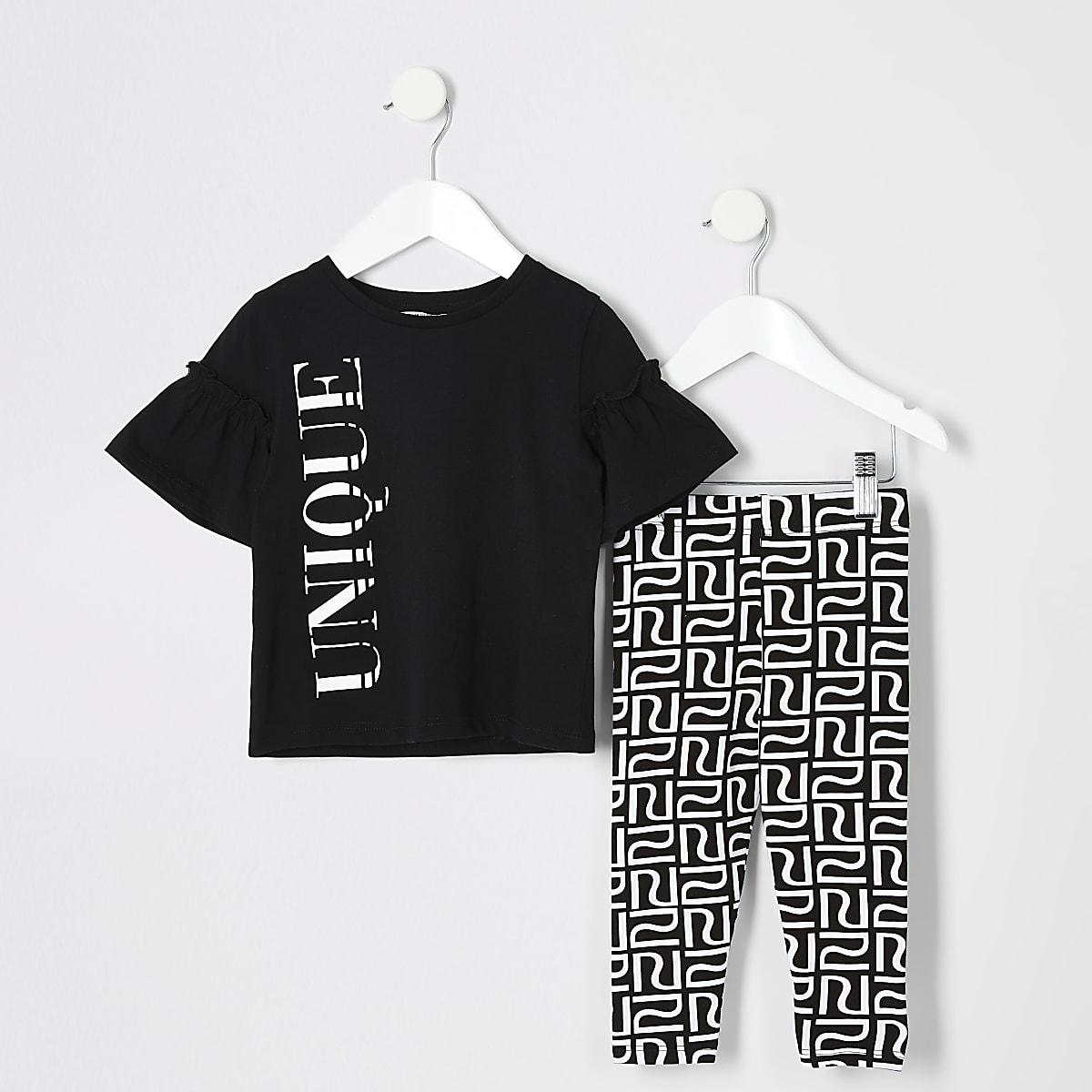 Mini girls 'unique' print T-shirt outfit