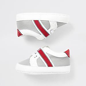Graue Baby-Sneaker mit RI-Monogramm