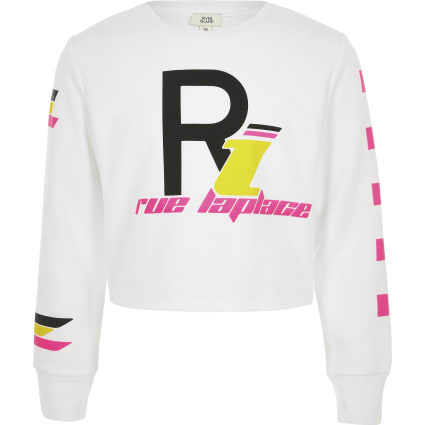 Girls white printed long sleeve T-shirt