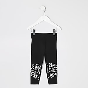 Mini girls 'princess' black leggings