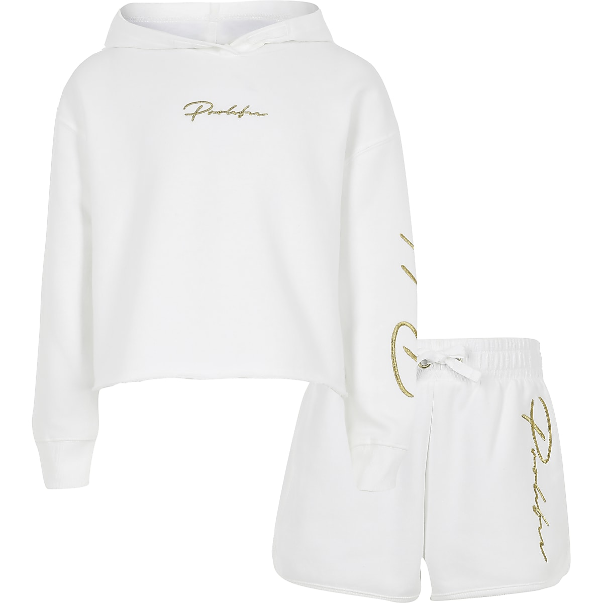 Girls white 'Prolific' hoodie outfit