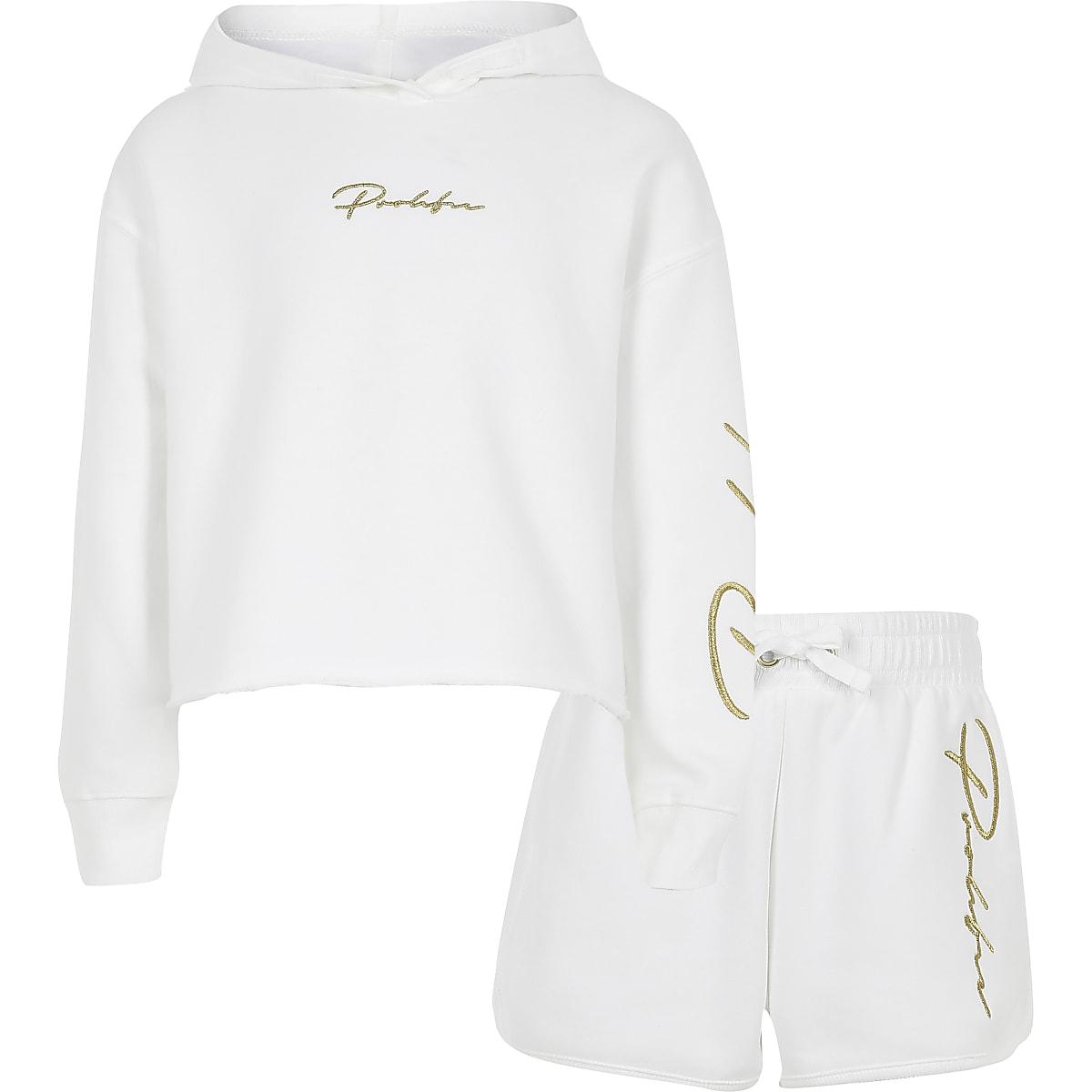 Prolific- Outfit met witte hoodie met print voor meisjes