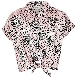 Roze overhemd met strik voor en dierenprint voor meisjes