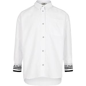 Chemise blanche à poignets RI pour fille