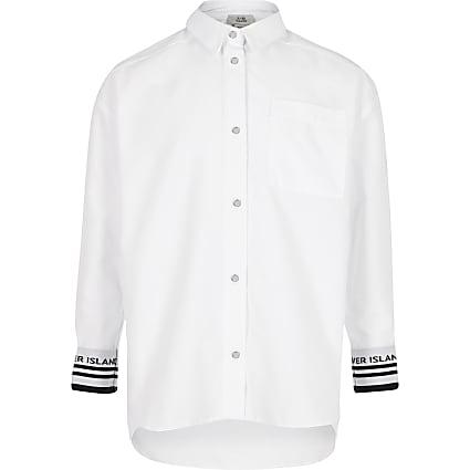 Girls white RI cuffed shirt