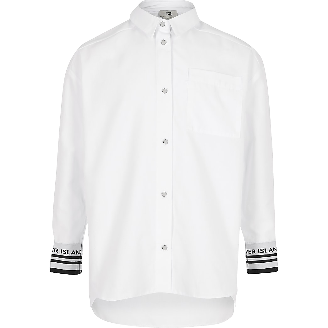 Girls white RI cuffed shirt