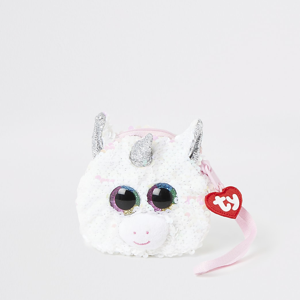 Girls TY white unicorn purse