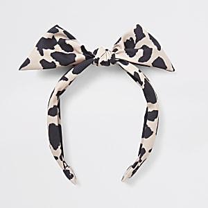 Lichtbruine haarband met luipaardprint en strik voor meisjes