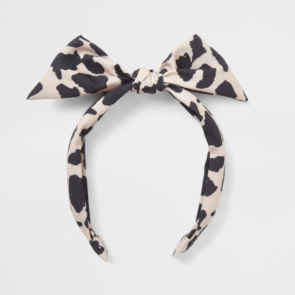 Girls light brown  leopard print bow headband