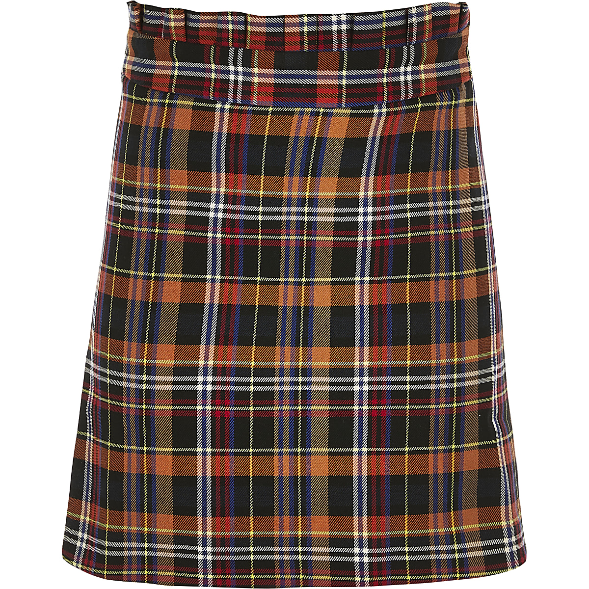 Girls brown check paperbag skirt