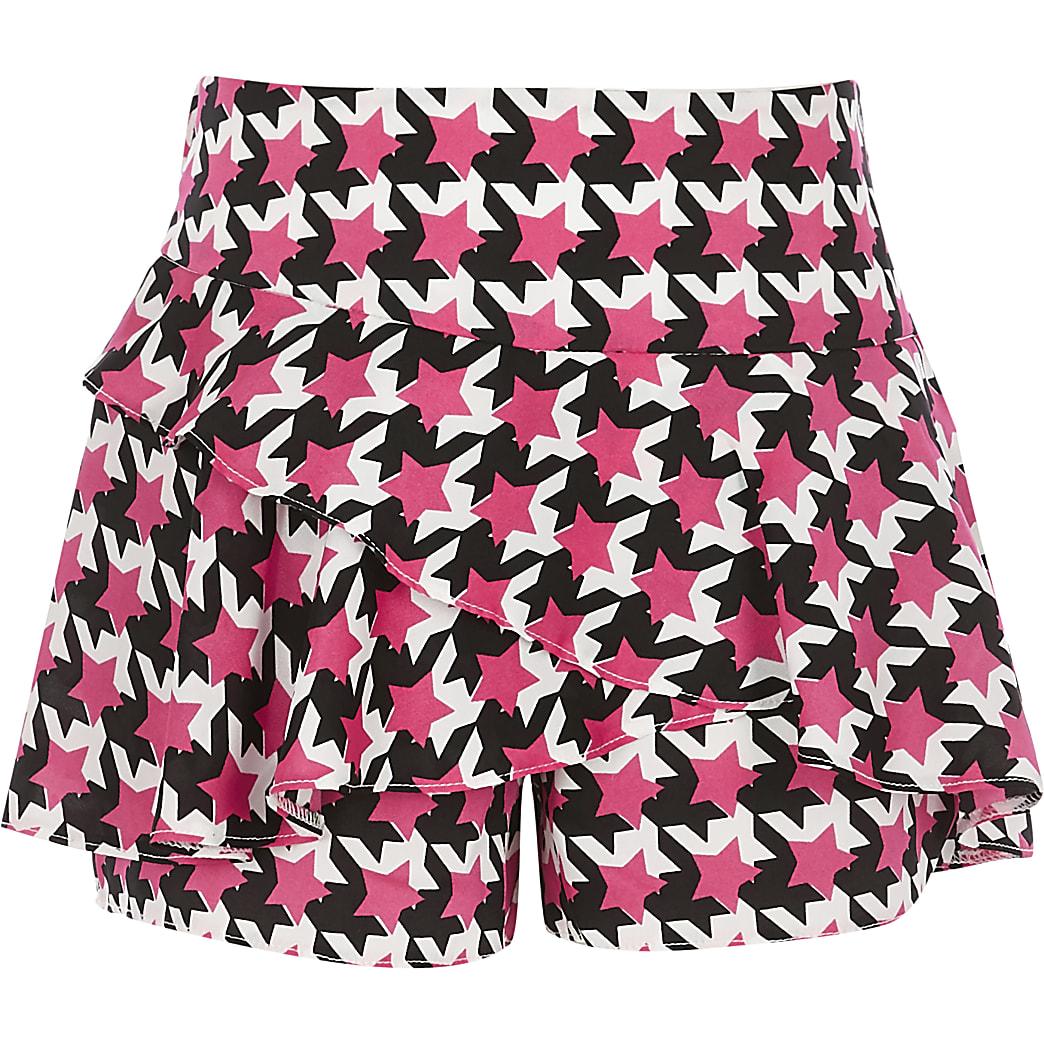 Girls pink star print frill skort