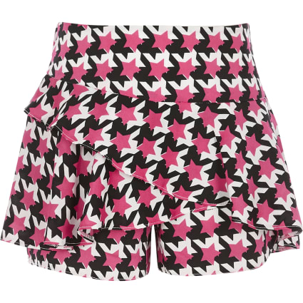 Girls pink star print frill skort