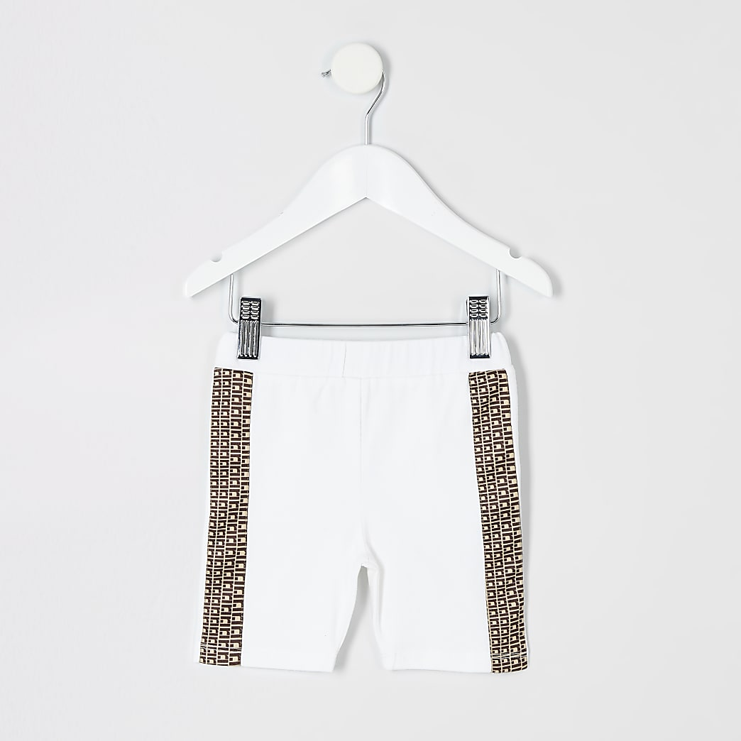 Mini girls white cycle shorts