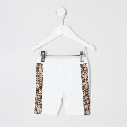 Mini girls white cycle shorts
