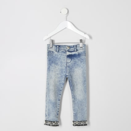 Mini girls Molly acid wash boucle hem jegging
