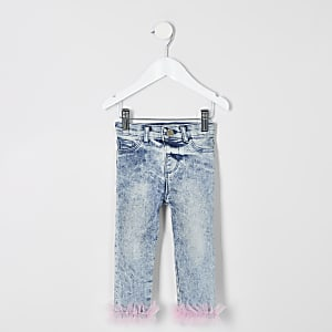 Mini girls blue Molly frill hem jeggings