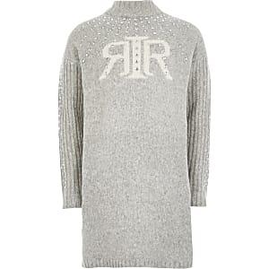 Graues Pulloverkleid mit RI-Verzierung für Mädchen