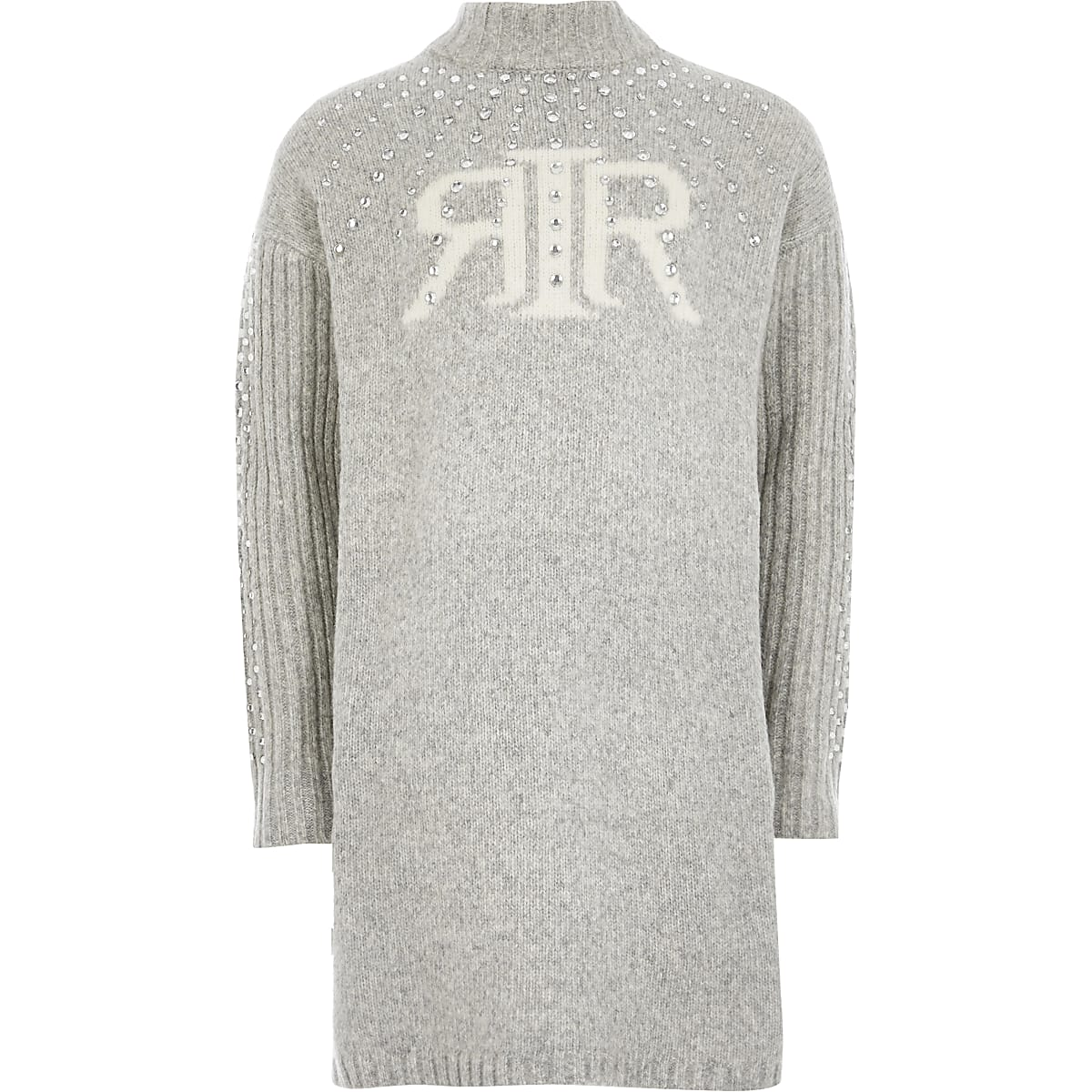 Girls grey RI embellished jumper dress