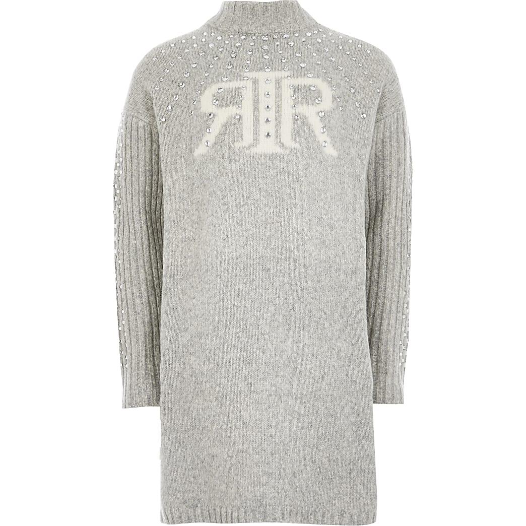 Girls grey RI embellished jumper dress
