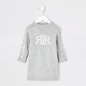 RI – Strickpullover-Kleid mit Pailletten für kleine Mädchen