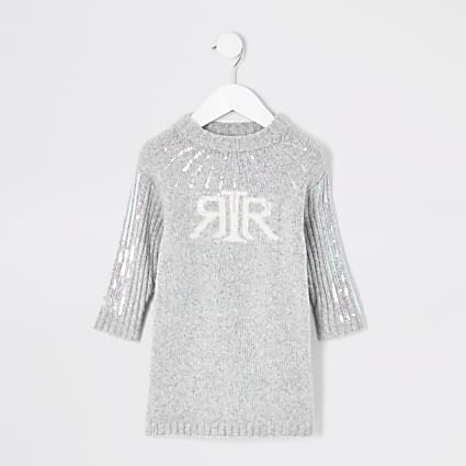 Mini girls RI sequin knitted jumper dress