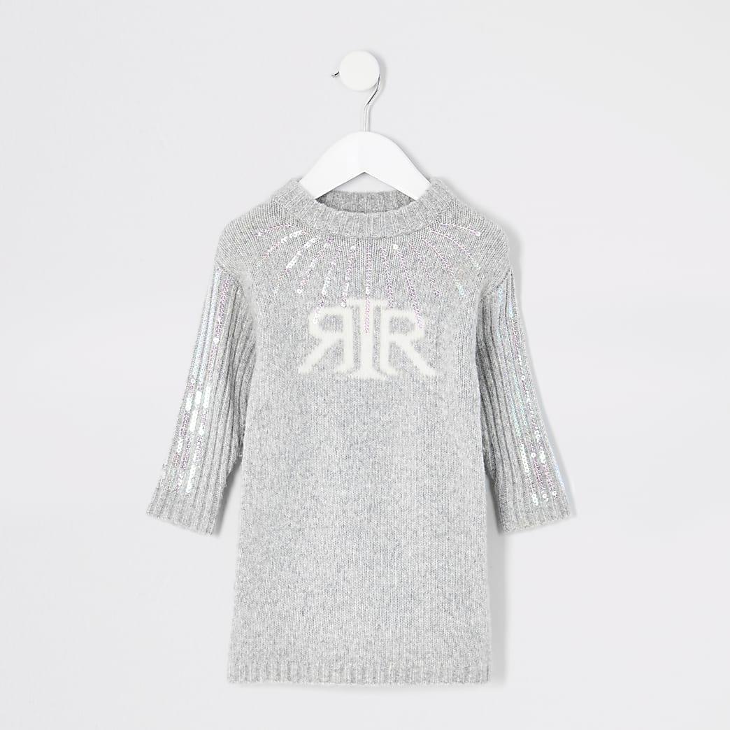 Mini - Gebreide met lovertjes verfraaide trui-jurk met RI-letters voor meisjes