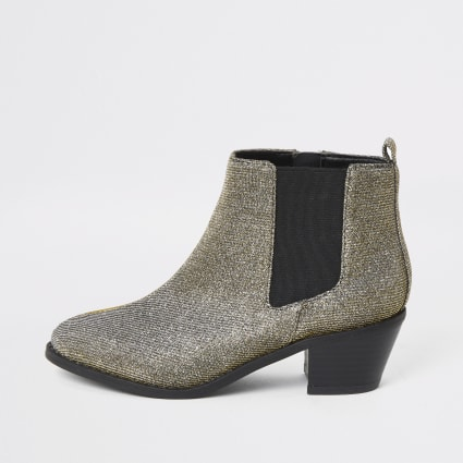 Girls silver glitter chelsea boots
