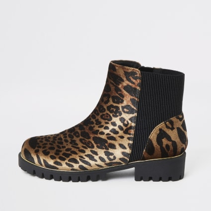 Girls brown leopard print cleated ankle boot