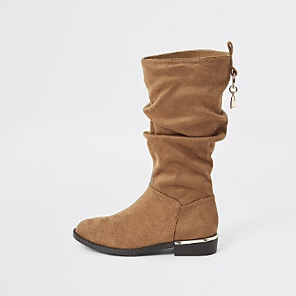 Brown slouch knee high boots