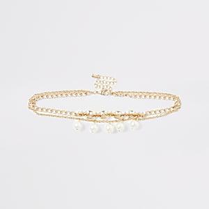 Collier ras-de-cou doré à perles pour fille