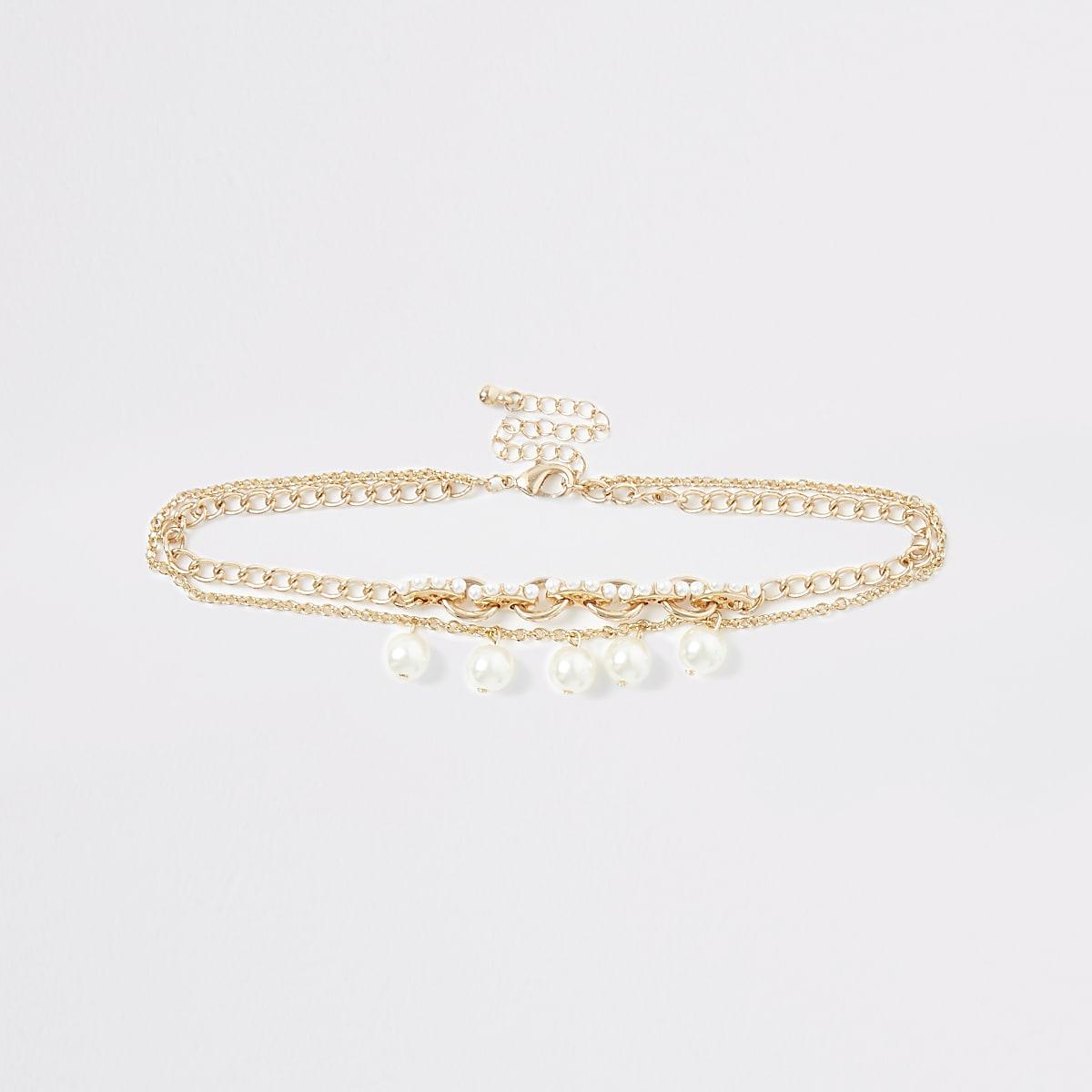 Goudkleurige chokerketting met parels voor meisjes