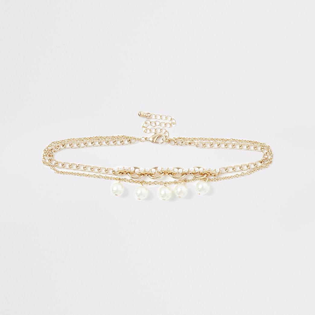 Girls gold tone pearl choker
