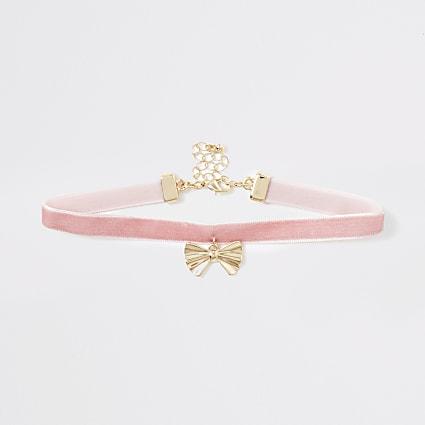 Girls pink RI heart choker