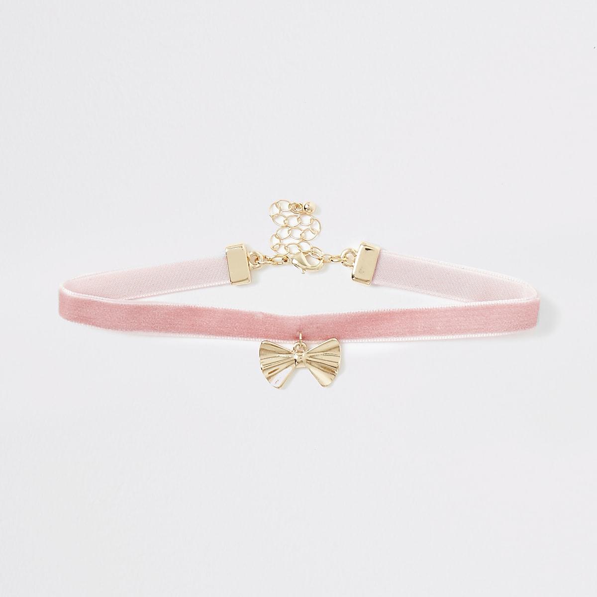 Roze RI-choker met hartje voor meisjes