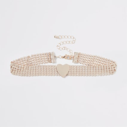 Girls rose gold heart choker necklace