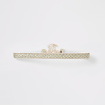 Girls gold tone diamante choker