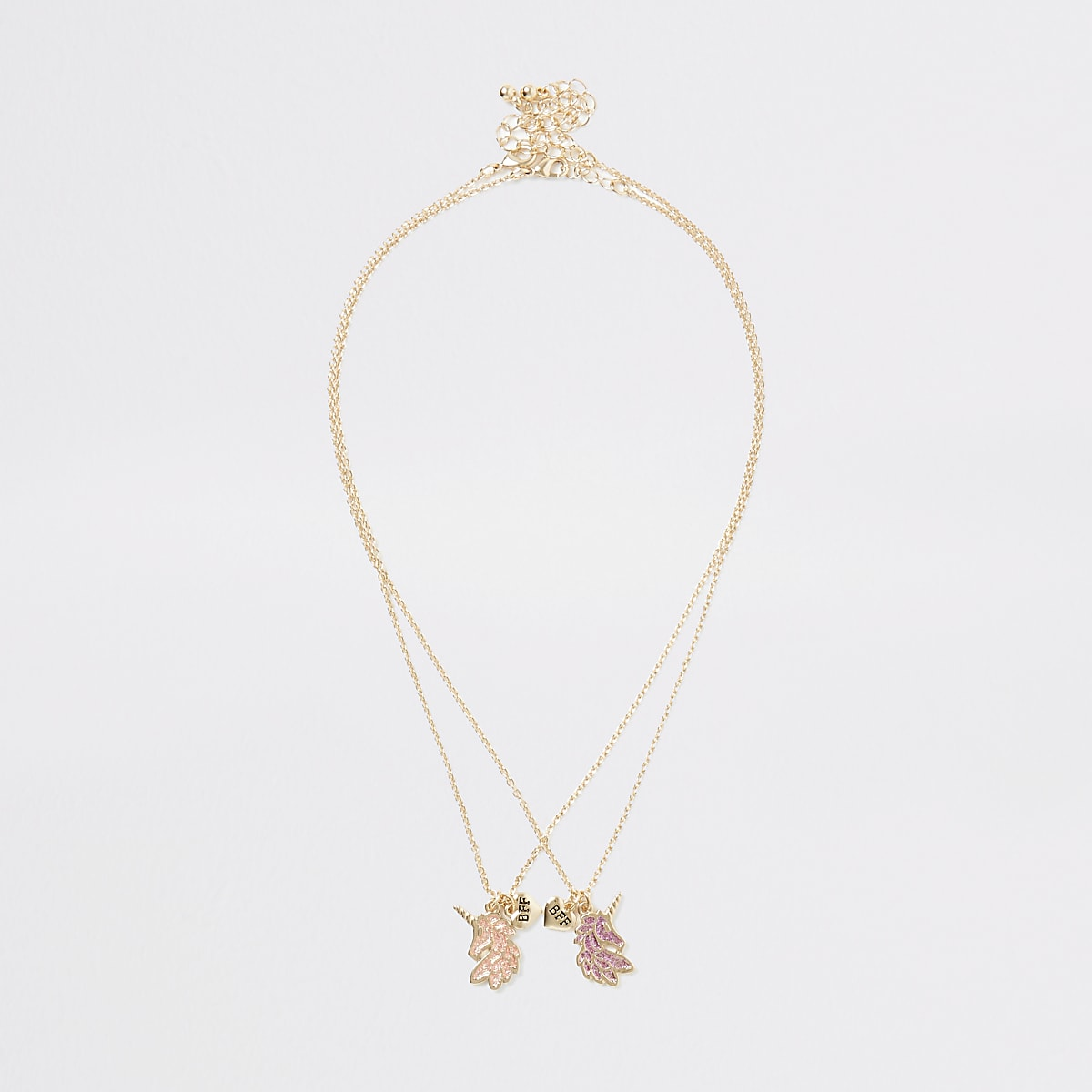 Girls gold tone unicorn friendship necklace