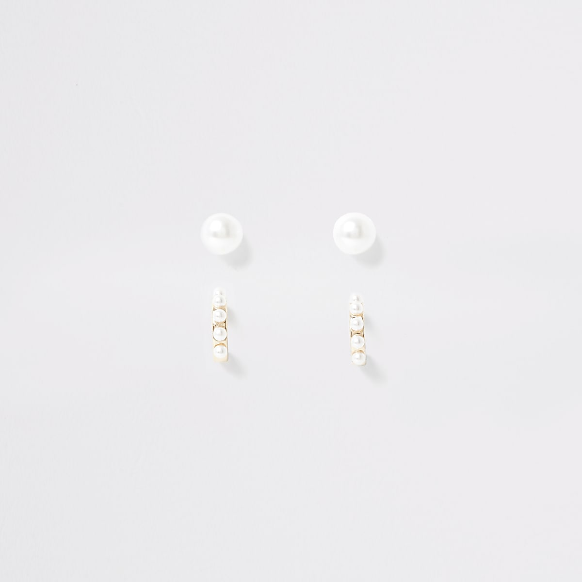 Girls gold tone pearl earrings multipack