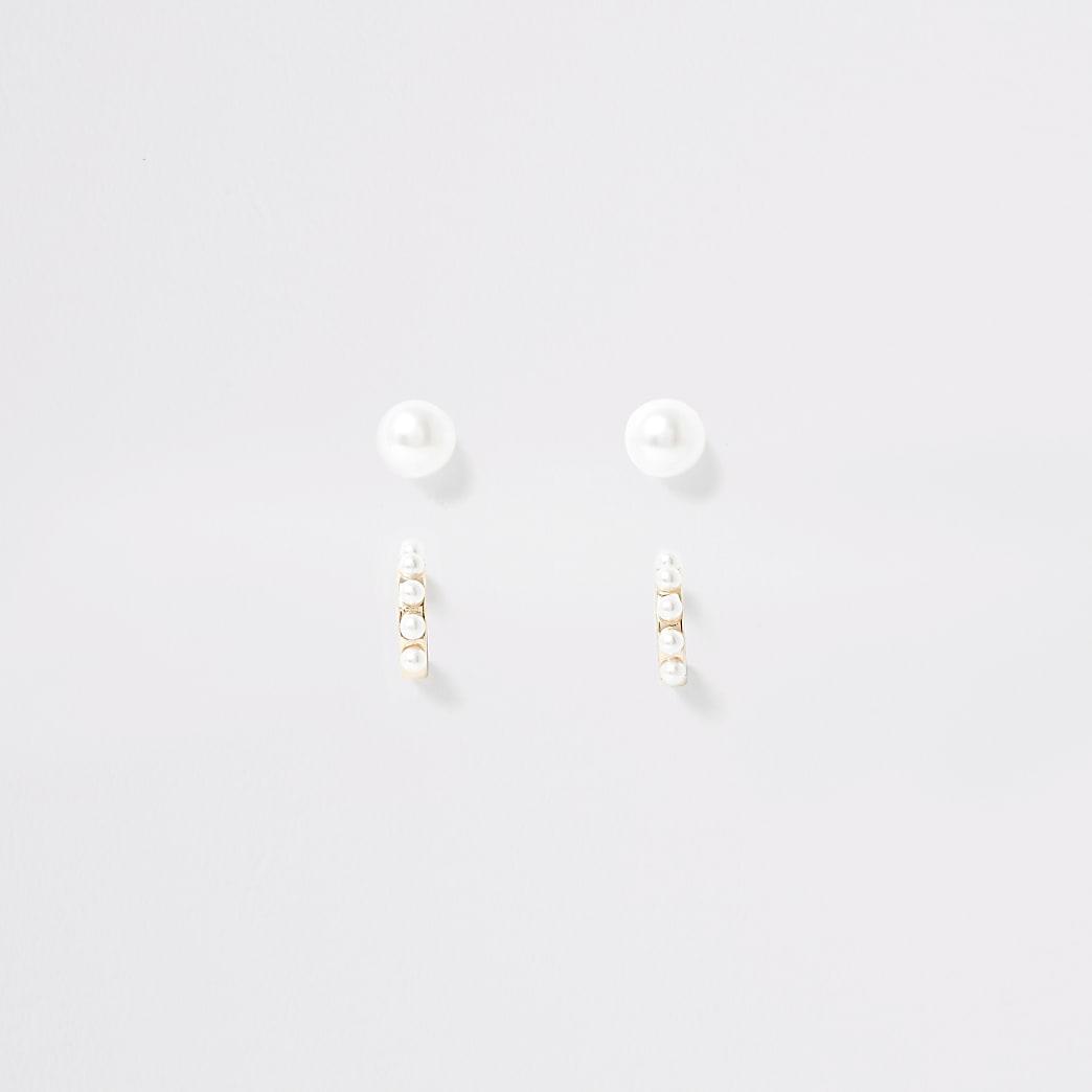 Girls gold tone pearl earrings multipack