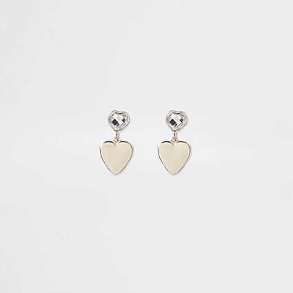 Girls gold tone heart drop clip on earrings