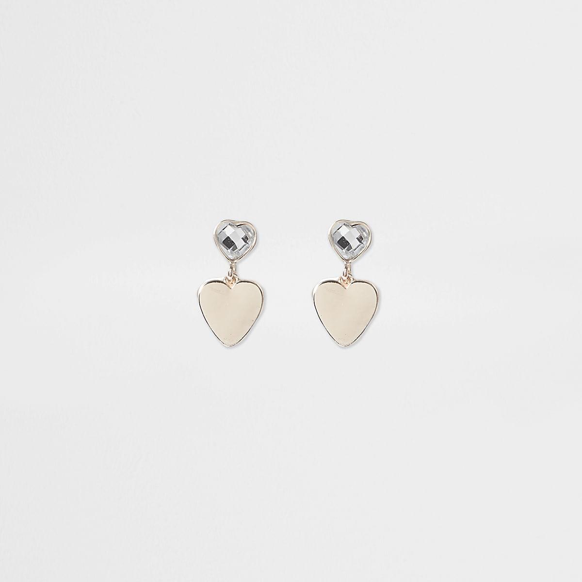 Girls gold tone heart drop clip on earrings