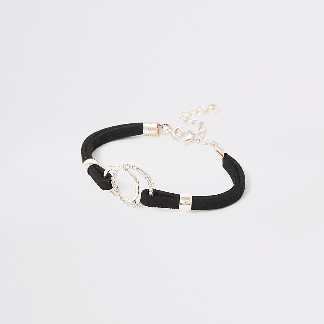 Girls black circle bracelet