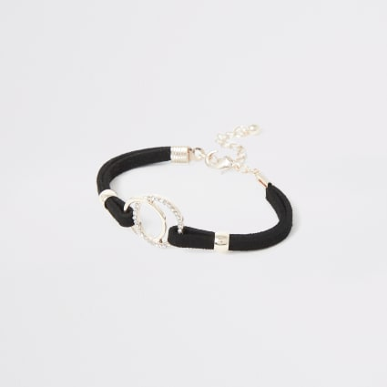 Girls black circle bracelet