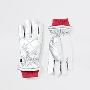 Gesteppte Handschuhe in Silber-Metallic für Mädchen