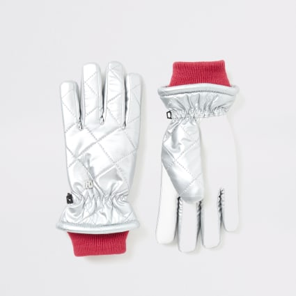 Girls silver metallic quilted gloves