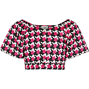 Roze crop top met pied-de-poule-motief voor meisjes