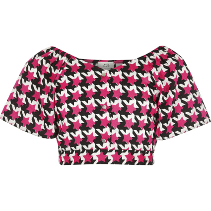 Girls pink dogtooth check crop top